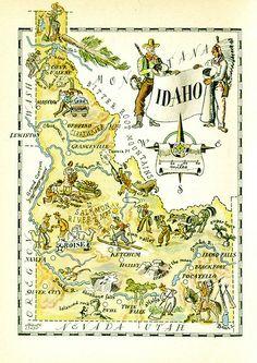 Idaho map featuring cowboys& Indians