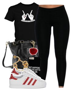 """""""whateva, foreva"""" by lovebrii-xo ❤ liked on Polyvore featuring Roque Bags, Versace, adidas Originals and Michael Kors"""