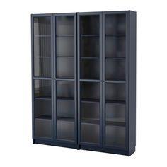 IKEA - BILLY / OXBERG, Bibliothèque, bleu foncé, 160x202x30 cm, , Tablettes réglables : à placer selon vos besoins.Les charnières réglables permettent d'ajuster la porte verticalement et horizontalement.Des portes vitrées permettent de garder vos objets à l'abri de la poussière mais toujours visibles.Portes vitrées pour ranger vos objets à l'abri de la poussière, mais toujours visibles.