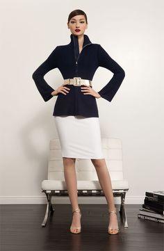 St. John Collection Cardigan, Skirt & Belt