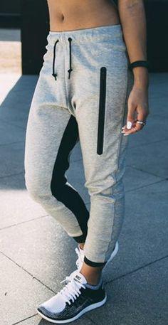 Casual Zipper Decoration Color Block Sports Pants