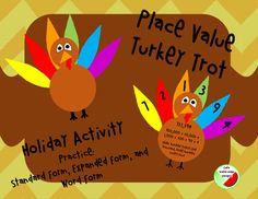 This activity allows students to practice place value with a fun turkey theme by writing numbers in standard, expanded, and word form.  Students write the different forms on the stomach of the turkey while displaying the digits they used on the feathers.
