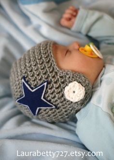 Crocheted Football Helmet Beanie for Baby pay for pattern