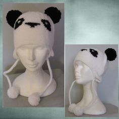 Bonnet Panda Bonnet Panda, Crochet Hats, Learn How To Knit, Wool, Knits, Boss, Objects, Fabric, Children