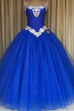 Royal Blue Prom Formal Gowns Strapless Prom Dress Applique Tulle Ball Gown Quinceanera Dresses For Sweet Prom Party Dress Royal Blue Prom Dresses, Blue Ball Gowns, Tulle Ball Gown, Ball Gowns Prom, Quince Dresses, Tulle Prom Dress, Ball Gown Dresses, Prom Party Dresses, Tulle Lace