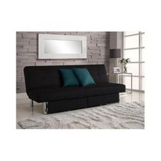 convertible sofa futon w  space saving storage  partments chrome thighs and upholstered in splendid black microfiber black friday  u0026 cyber monday 2016 the sliver metal arm futon frame with mattress converts from a      rh   pinterest