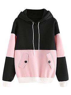 7371a6f20a4e1b  18.99 SweatyRocks Sweatshirt Women Colorblock Pullover Fleece Hoodie  (Small