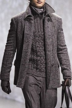Shop this look on Lookastic: http://lookastic.com/men/looks/charcoal-dress-pants-charcoal-gloves-charcoal-overcoat-charcoal-shawl-neck-sweater/9025 — Charcoal Wool Dress Pants — Charcoal Wool Gloves — Charcoal Plaid Overcoat — Charcoal Knit Shawl Neck Sweater
