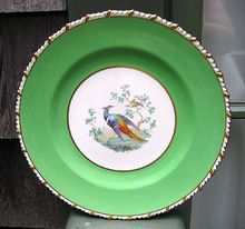 WIDE GREEN BORDER - PARTRIDGE CENTER - GOLD ROPE TRIM -    A Gorgeous Plate by Royal Crown Derby England For Tiffany & Co New York   $52.00
