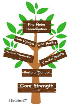 Core Strength is the foundation for so many other school-based skills: bilateral coordination, shoulder stability, fine motor skills, and handwriting all depend on core strength!  MissJaimeOT