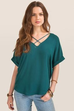 francesca's Lush Ainsleigh X Neck Blouse-Evergreen
