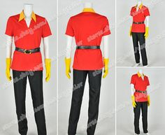 Maybe Michael...   Beauty And The Beast Cosplay Hunter Gaston Costume Uniform Red Shirt Black Pants #Uniform