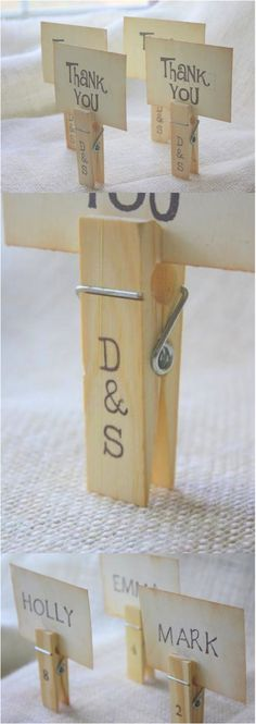 Searching for a cute, fun, unique idea for wedding decor/favors/escort card/place card holders? These handstamped personalized clothespins are PERFECT for any vintage, shabby chic, barn, country or woodland themed wedding. Simple elegance with a kiss of rustic charm. | Made on Hatch.co