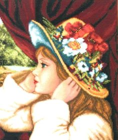 Counted Cross Stitch Chart Pattern GIRL WITH HAT