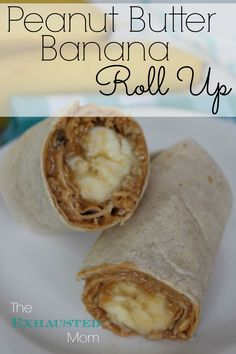 "A yummy & satisfying snack so you don't reach for the ""bad"" stuff! Peanut Butter Banana Roll-Up Healthy Protein Snacks, Healthy Sweets, Healthy Food, Peanut Butter Roll, Peanut Butter Banana, Low Carb Recipes, Snack Recipes, Cooking Recipes, Banana Roll"