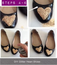Easy DIY tutorial for Glitter Heart Shoes, or I would just do the tips gold, no hearts.