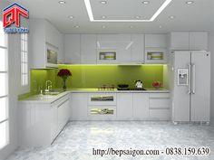Tủ bếp gỗ màu trắng cho phòng bếp nhẹ nhàng, tinh khôi TB8