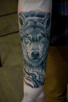 Tattoo by Vadim Borisochkin Love Tattoos, Body Art Tattoos, Tattoos For Guys, Tatoos, Wolf Sleeve, Wolf Tattoo Sleeve, Wolf Tattoo Design, Tattoo Designs, Watercolor Wolf Tattoo