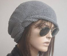 9124d1d1f6e400 Big Sale -Slouchy beanie with pom pom oversized beanie hat winter knit hat  for woman in grey -COL in 2019 | Products | Winter knit hats, Knitted hats,  ...