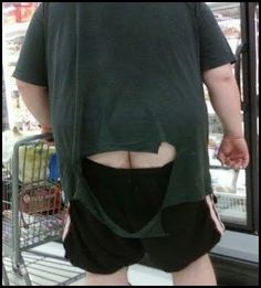 Walmart shopper.  Oh my!  Did he actually blow that hole in his shirt?  If so, I bet he cleared out THAT aisle!