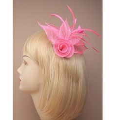 Fabric Flower Fascinator on a Forked Clip /& Brooch Pin in Various Colours 15cm