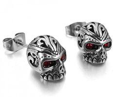 JBlue Jewelry Men's Stainless Steel Stud Earrings CZ Silver Red Skull Gothic (with Gift Bag)