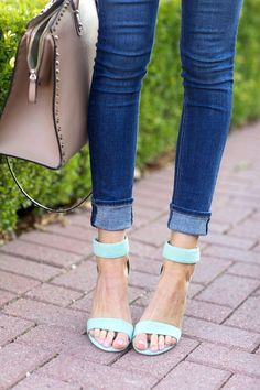 Mint ankle strap heels: