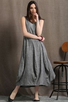 Hey, I found this really awesome Etsy listing at https://www.etsy.com/listing/231171313/maxi-grey-linen-dress-women-dress-c417