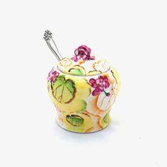 Vintage Porcelain Jam Honey Pot Handpainted by RosaMeyerCollection, $22.00