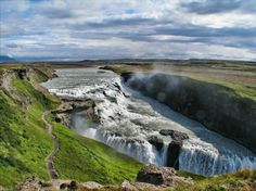 Gullfoss, Iceland. every photo of iceland looks super 'shopped, but maybe it's just that magical.