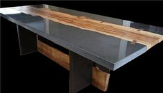 Concrete Furniture Gallery Concrete table with wood inlay by Keelin Kennedy Concrete Furniture, Concrete Wood, Diy Furniture, Furniture Design, Polished Concrete Countertops, Concrete Bar Top, Paint Countertops, Furniture Stores, Office Furniture