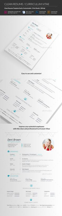 Clean Resume CV - #Resumes Stationery Download here: https://graphicriver.net/item/clean-resume-cv/10576243?ref=alena994