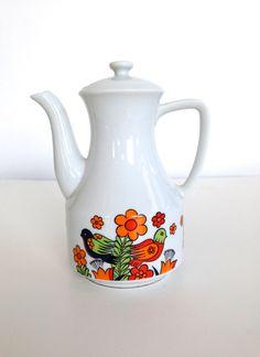 1960's Tea Pot Vintage Birds Flowers of Paradise by VintageCommon on Etsy