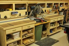 Woodshop Miter Saw Bench and Storage 550x366 Woodworking Shop