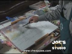 """""""Painting Clouds: Cheap Joe's Watercolor Training - Part 2"""" Welcome to Cheap Joe's Test Studio! People seem to want to do a lot of different skies and I do, too. Id like to show you one or two approaches to clouds... #ArtVideo #ArtInstruction #ArtLessons"""