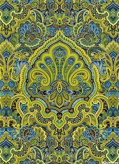 Autumn Festival - Autumn Garden Festivities- Lime - rom the 'Autumn Festival' collection by Color Principle for Henry Glass & Co. Paisley Design, Paisley Pattern, Pattern Art, Textile Prints, Textile Patterns, Print Patterns, Textiles, Et Wallpaper, Fabric Wallpaper