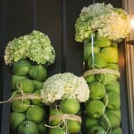 green apples and Hydrangea vase decorations - table styling - autumn - rustic - country - fruit - DIY