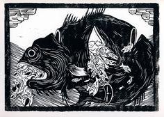 Grådighed. En illustration med linoleumstryk af kunstner Simon Væth.