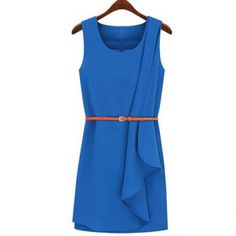 Modern Style Scoop Neck Solid Color Flouncing Hem Sleeveless Women's Dress With Belt
