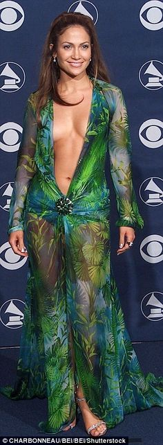 The original: One of the male artists imitated Jennifer's MTV Music Awards 2000 look (left) while another picked out a similar dress to the one she sported to the Grammy Awards in the same year
