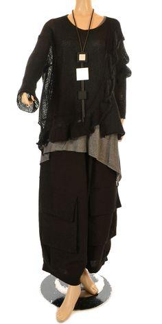 Kamuflage Funky Black Winter Linen Huge Pocket Trouser-Kamuflage, lagenlook
