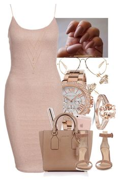 """""""Nude Outfit"""" by aalayjaellis ❤ liked on Polyvore featuring Michael Kors, New Look, CÉLINE, Forever 21, Dean Harris, Bliss Diamond, Essence and Gianvito Rossi"""