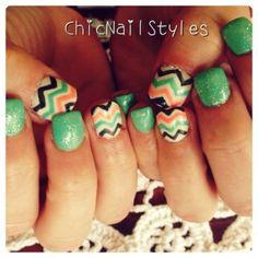 Mint, Coral, Grey Chevron Nails #gelish #amintofspring #sculptednails