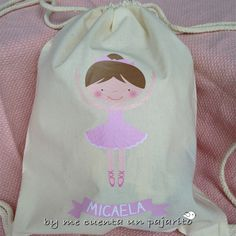 Mochila bolsa personalizada de tela 100% algodón con cuerdas, dibujo bailarina. #Bolsapersonalizada #mochilapersonalizada