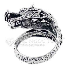 Mẫu nhẫn bạc nam không đá hình con rồng phong cách cá tính