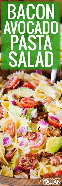 Bacon Avocado Pasta Salad is a delicious summer pasta salad recipe! Its full of bacon, tomatoes, avocado, all topped with a tangy creamy dressing!