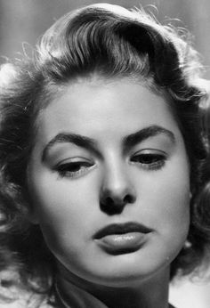 Ingrid Bergman: despite her legendary angelic appeal, she had a beautiful mouth.  At times, her full lips gave her a sultry quality.  This photo shows off her sultriness in full effect.  -L.M. Ross