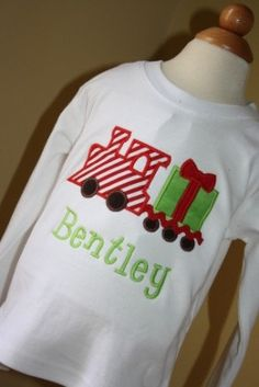 Boys Christmas train outfit by gigibabies on Etsy, $44.00