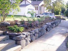 Rock wall at sidewalk