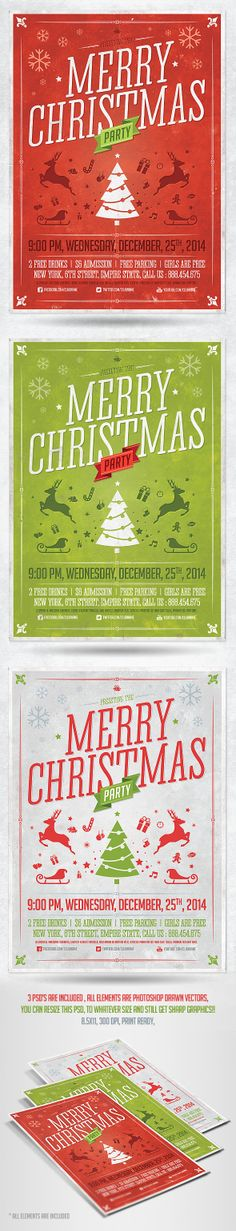 Retro Christmas Party Flyer Template by saltshaker911.deviantart.com on @deviantART